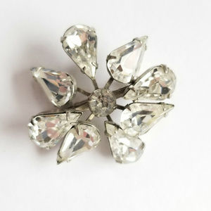 Prong Set Crystal Rhinestone Whacky Floral Brooch